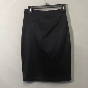 Silky Black Pencil Skirt with back slit